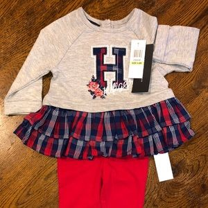 Tommy Hilfiger 3-6 mos baby plaid sweater outfit